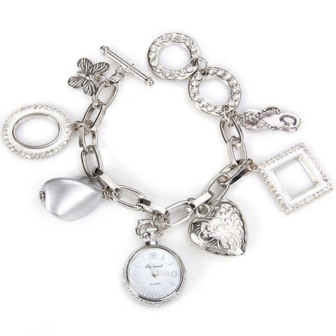 Stylish Quartz Watch With Round Dial And Heart Butterfly Chain Watch Band For Women LAVELIQ