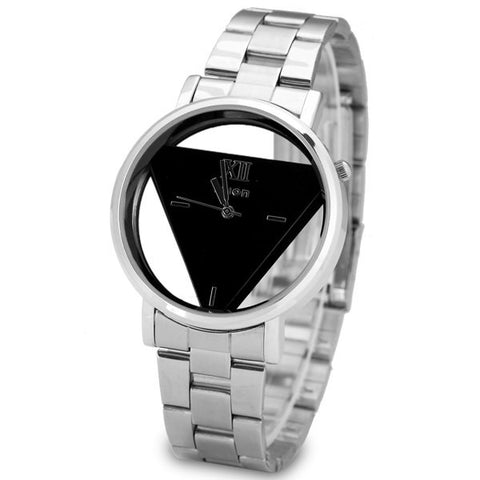 Superb Quartz Watch With Triangle Design Analog Indicate And Steel Strap Watchband For Women LAVELIQ