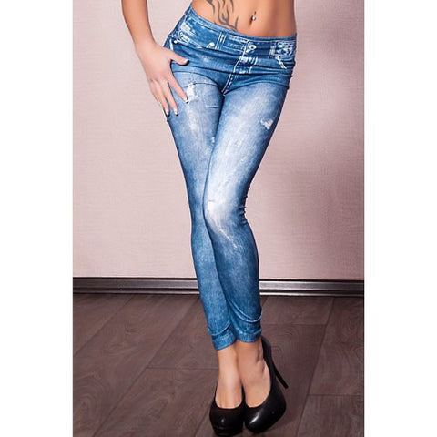 Vintage Mid-Waisted Tattoo Graffiti Print Slimming Women'S Jean Leggings LAVELIQ