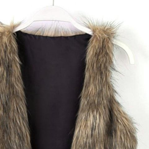 Stylish Collarless Fitting Faux Fur Vest For Women LAVELIQ