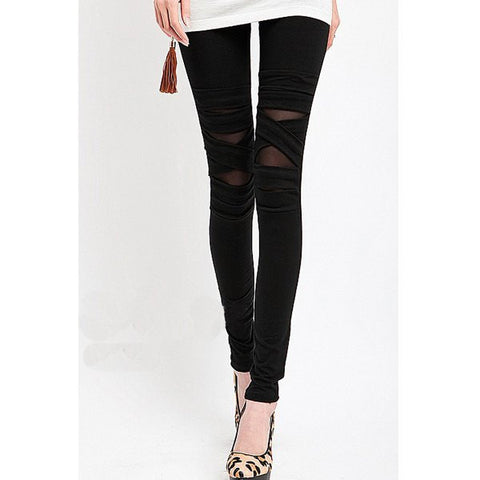 Fashionable Voile Splicing Strap Design Women'S Leggings LAVELIQ