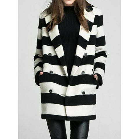 Stylish Lapel Striped Double-Breasted Long Sleeve Women'S Coat LAVELIQ