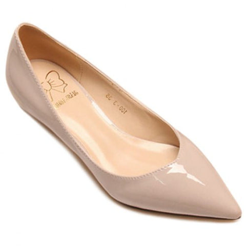 Concise Style Pointed Toe And Patent Leather Design Women'S Flat Shoes LAVELIQ