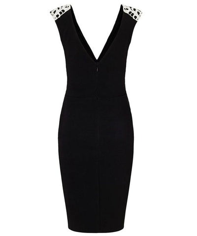 Casual Plunging Neck Sleeveless Spliced Appliques Women's Club Dress LAVELIQ