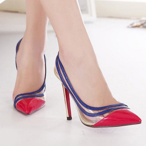 Fashionable Color Block And Transparent Design Women'S Pumps LAVELIQ