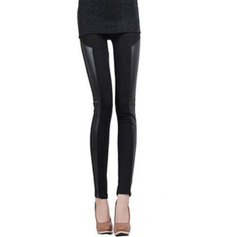Stylish Pu Leather Splicing Slimming Leggings For Women LAVELIQ