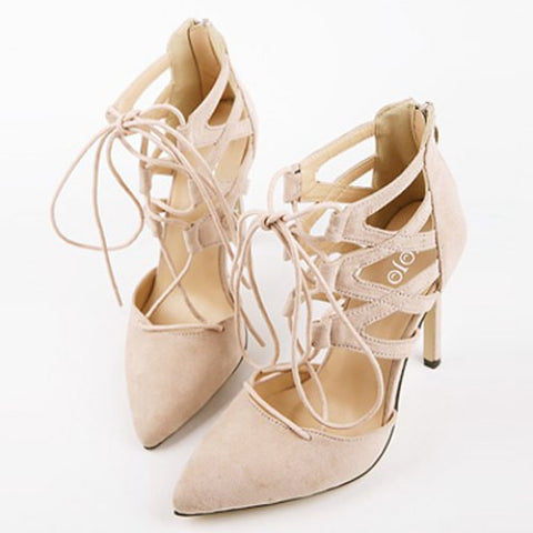 Sexy Suede And Lace-Up Design Women'S Pumps LAVELIQ