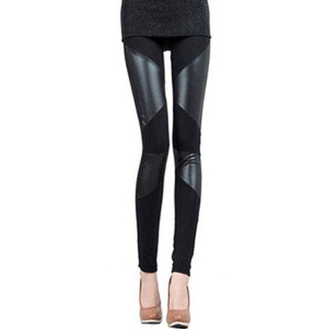 Stylish Pu Leather Splicing Elasticity Black Leggings For Women LAVELIQ