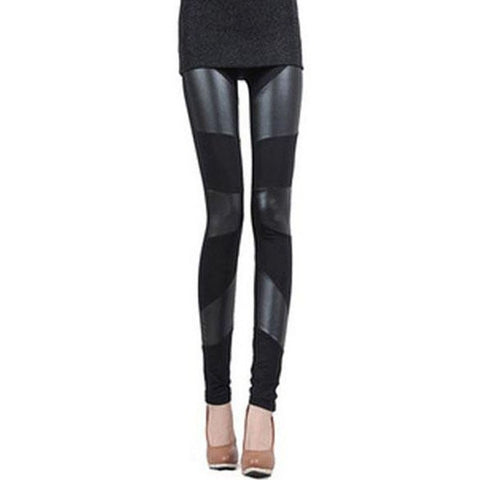 Stylish Pu Leather Splicing Black Slimming Leggings For Women LAVELIQ