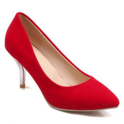 Simple Pointed Toe And Stiletto Design Women'S Suede Pumps LAVELIQ