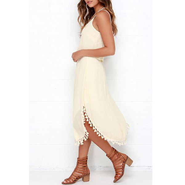 Elegant Spaghetti Strap Solid Color Tassel Slit Dress For Women LAVELIQ - LAVELIQ - 3