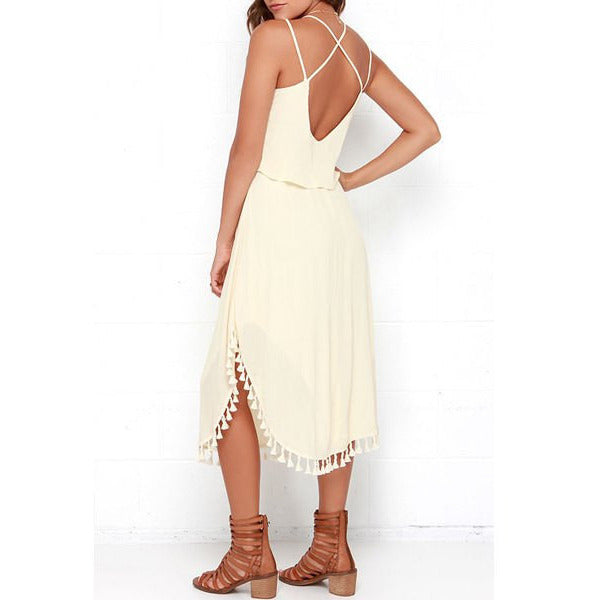Elegant Spaghetti Strap Solid Color Tassel Slit Dress For Women LAVELIQ - LAVELIQ - 4