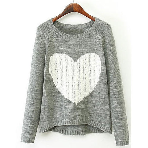 Casual Scoop Neck Long Sleeve Heart Pattern Color Block Sweater For Women LAVELIQ