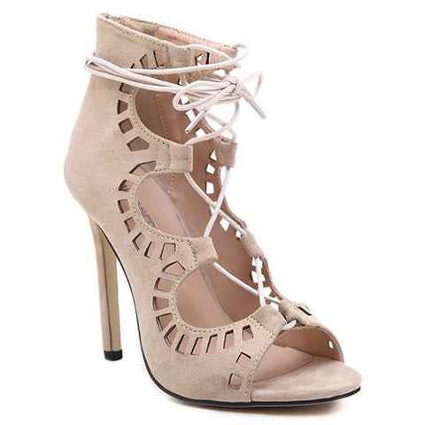 Sexy Suede And Hollow Out Design Stiletto Heel Women'S Sandals LAVELIQ