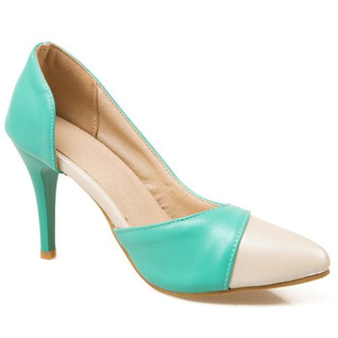 Gorgeous Color Block And Pu Leather Design Women'S Pumps LAVELIQ