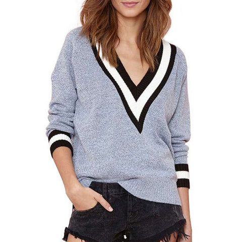 Sexy Plunging Neck Long Sleeve Striped Color Block Women'S Sweater LAVELIQ
