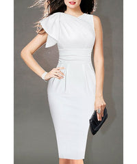 OL Style V-Neck Solid Color Bodycon Midi Dress For Women LAVELIQ