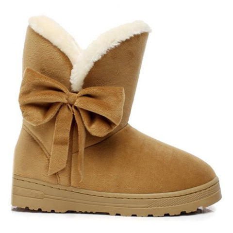 Stylish Bowknot And Suede Design Women'S Snow Boots LAVELIQ