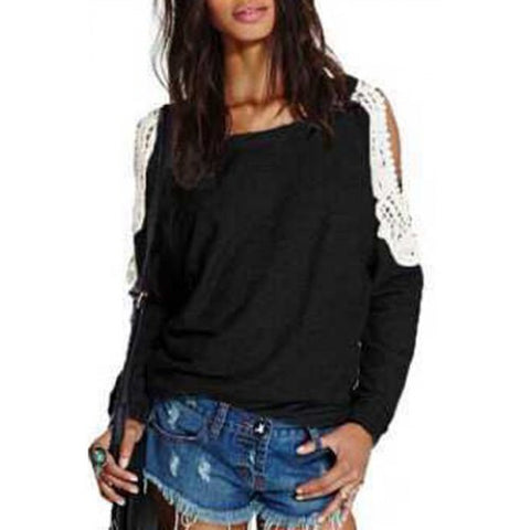 Chic Scoop Collar Long Sleeve Lace Spliced Cut Out Women'S Sweatshirt LAVELIQ