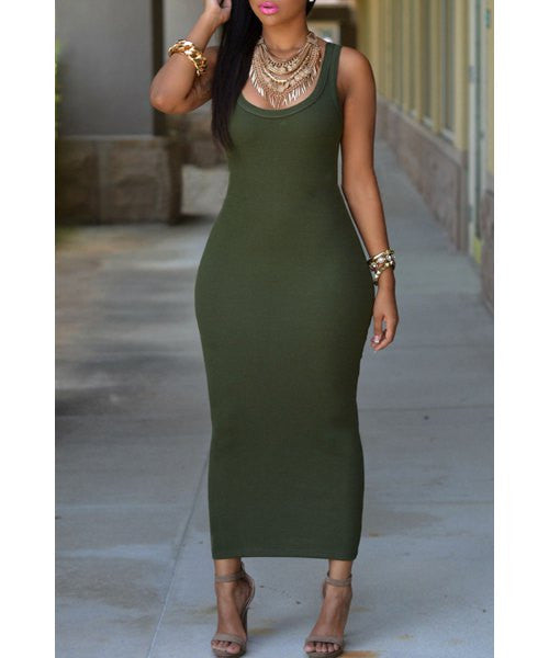 Sexy U Neck Sleeveless Pure Color Bodycon Women's Dress LAVELIQ