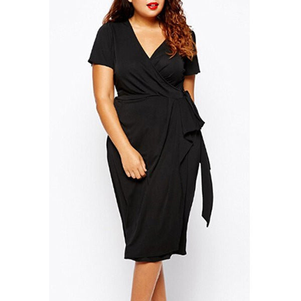 Stylish V-Neck Short Sleeve Solid Color Wrap Dress For Women - Plus Size LAVELIQ - LAVELIQ - 1