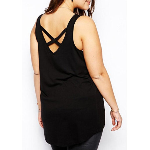 Sexy U Neck Sleeveless Criss-Cross Top - Plus Size Sale LAVELIQ