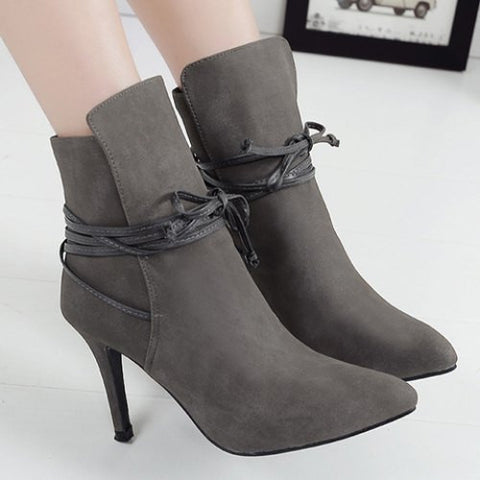Elegant Lace-Up And Suede Design Women'S High Heel Boots LAVELIQ