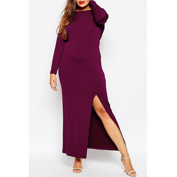 Stylish Long Sleeve Solid Color Maxi Plus Size Dress Sale LAVELIQ - LAVELIQ - 2