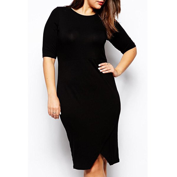 Sexy Round Neck Half Sleeve Solid Color Plus Size Women