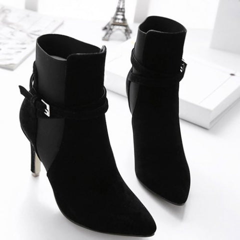 Stylish Elastic And Pointed Toe Design Women'S Short Boots LAVELIQ