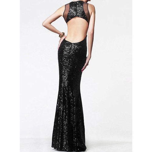 Sexy Round Neck Sleeveless Sequined See-Through Backless Women'S Fishtail Dress LAVELIQ - LAVELIQ - 3