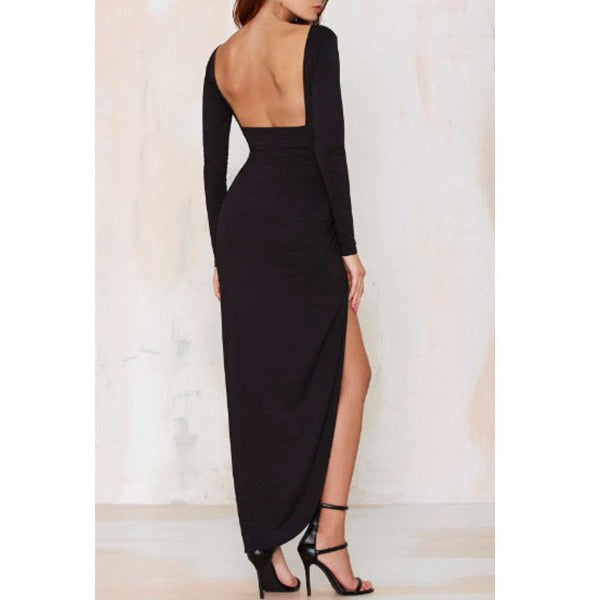 Noble Solid Color Backless Long Sleeve Ruched Slit Maxi Dress For Women Sale LAVELIQ - LAVELIQ - 3