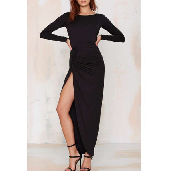 Noble Solid Color Backless Long Sleeve Ruched Slit Maxi Dress For Women Sale LAVELIQ - LAVELIQ - 2