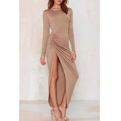 Noble Solid Color Backless Long Sleeve Ruched Slit Maxi Dress For Women Sale LAVELIQ - LAVELIQ - 4