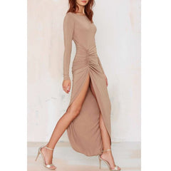 Noble Solid Color Backless Long Sleeve Ruched Slit Maxi Dress For Women Sale LAVELIQ - LAVELIQ - 5