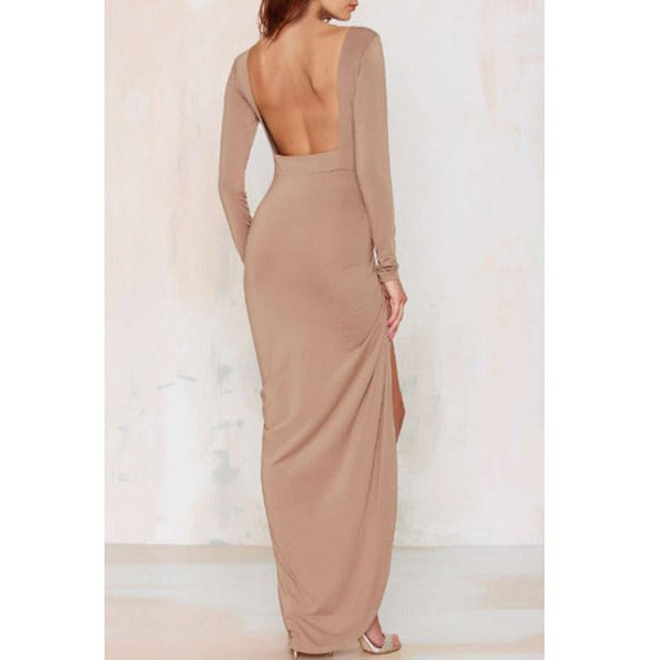 Noble Solid Color Backless Long Sleeve Ruched Slit Maxi Dress For Women Sale LAVELIQ - LAVELIQ - 6