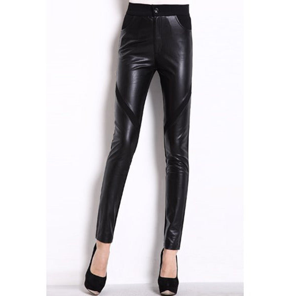 Women'S Trendy Pu Black High Waist Skinny Leggings LAVELIQ - LAVELIQ - 1