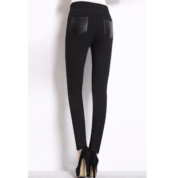 Women'S Trendy Pu Black High Waist Skinny Leggings LAVELIQ - LAVELIQ - 3
