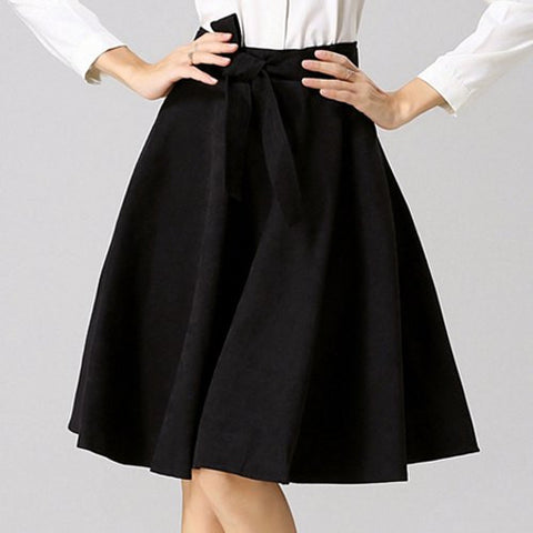 Chic High-Waisted Pure Color Self Tie Belt Women'S Skirt LAVELIQ