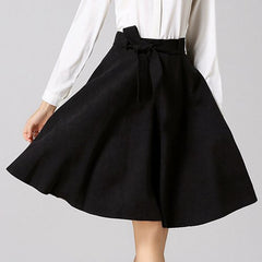 Chic High-Waisted Pure Color Self Tie Belt Women'S Skirt LAVELIQ - LAVELIQ - 2