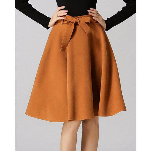 Chic High-Waisted Pure Color Self Tie Belt Women'S Skirt LAVELIQ - LAVELIQ - 3