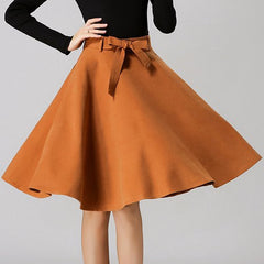 Chic High-Waisted Pure Color Self Tie Belt Women'S Skirt LAVELIQ - LAVELIQ - 4