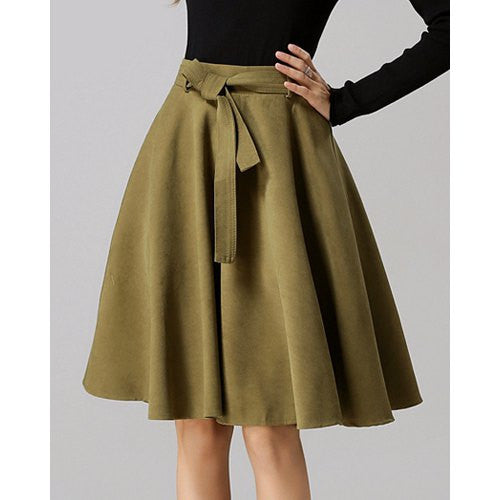 Chic High-Waisted Pure Color Self Tie Belt Women'S Skirt LAVELIQ - LAVELIQ - 6