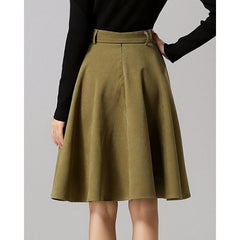 Chic High-Waisted Pure Color Self Tie Belt Women'S Skirt LAVELIQ - LAVELIQ - 7