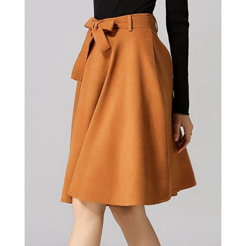 Chic High-Waisted Pure Color Self Tie Belt Women'S Skirt LAVELIQ - LAVELIQ - 5