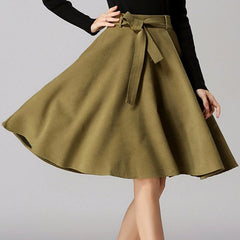 Chic High-Waisted Pure Color Self Tie Belt Women'S Skirt LAVELIQ - LAVELIQ - 8