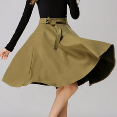Chic High-Waisted Pure Color Self Tie Belt Women'S Skirt LAVELIQ - LAVELIQ - 9
