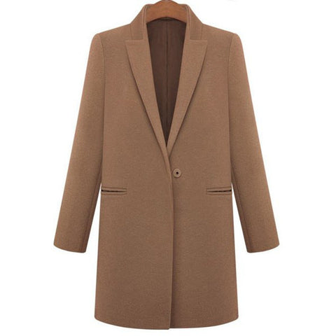 Elegant Long Sleeves Lapel Neck Loose-Fitting Worsted Coat For Women LAVELIQ