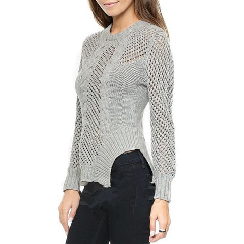 Chic Round Neck Long Sleeve Hollow Out Asymmetrical Women'S Sweater LAVELIQ