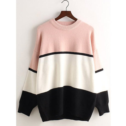 Casual Style Round Collar Long Sleeve Color Block Loose-Fitting Women'S Knitwear LAVELIQ